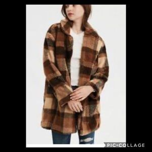 American Eagle Fall Plaid Teddy Pea Coat NWT XXL